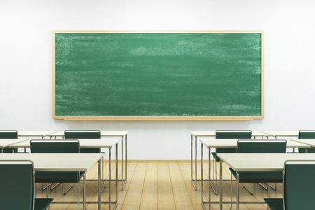empty school classroom with blackboard