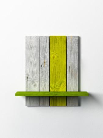 modern wooden bookshelf on the white wall Stock Photo