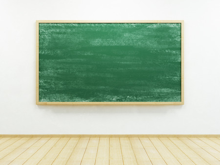 light classroom: blank blackboard on the wall