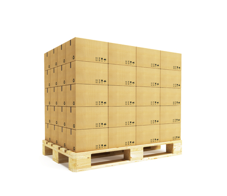 pallet with cardboard boxes, 3d rendering Stock Photo