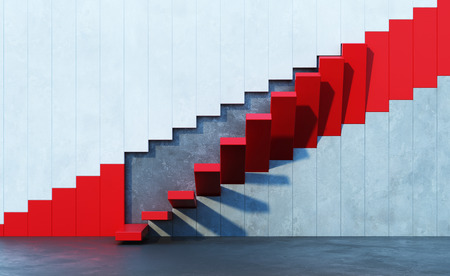 stairs interior: red stairs leading upward, architectural composition Stock Photo