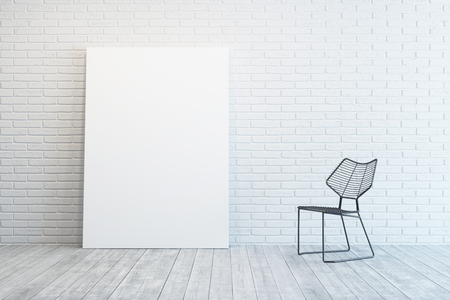 art contemporary: white room with blank picture and metal chair