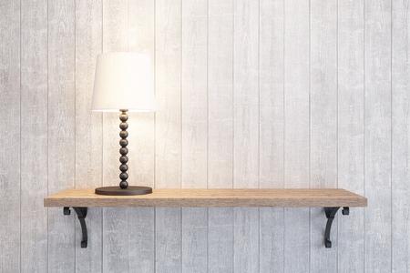 turn table: turn on table lamp on the shelf Stock Photo