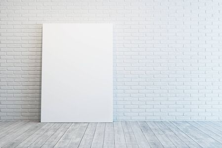 loft interior: white room with blank picture Stock Photo