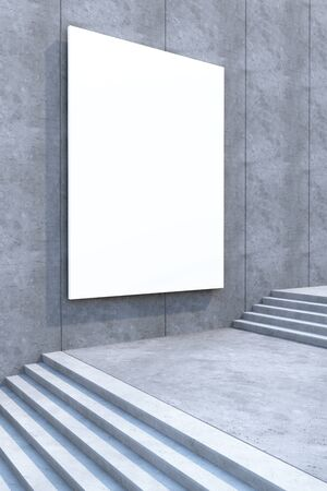 concrete stairs: blank white billboard on the concrete wall