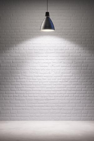 vitrine: empty room interior with turn on lamp