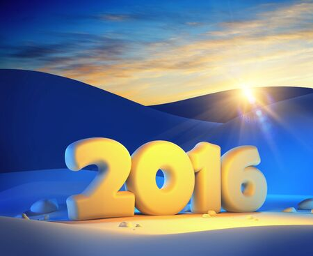 next day: new year 2016, 3d render