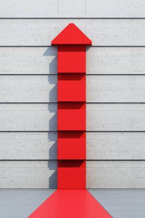 red arrow: red arrow going upward, 3d rendering Stock Photo