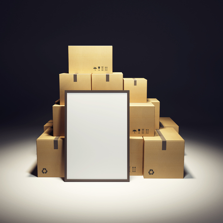 boite carton: pile de boîte en carton et vide billboard