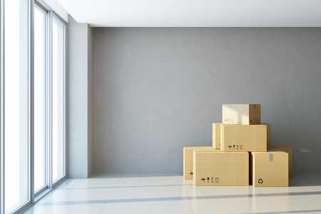 moving boxes at a new office
