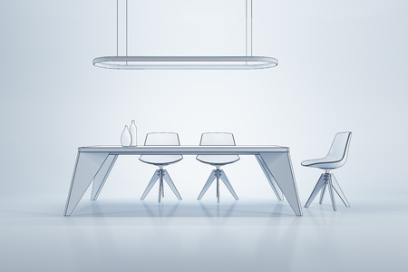 penthouse: minimalism style interior of dining room, 3d rendering