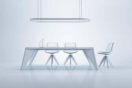 luxury living room: minimalism style interior of dining room, 3d rendering
