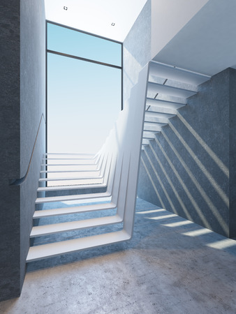 penthouse: modern stairs in penthouse Stock Photo