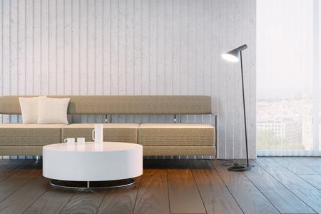 white wood floor: modern design of living room, 3d rendering