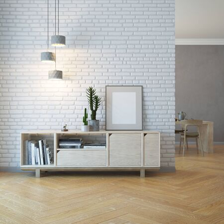 interior decoration: living room interior with wooden sideboard, 3d rendering Stock Photo