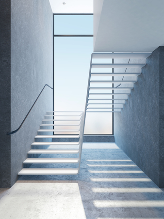 penthouse: modern stairs in penthouse, 3d rendering