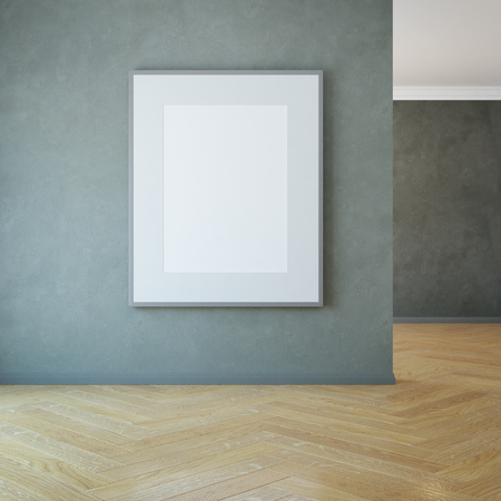 modern living room: blank picture on the wall, 3d rendering