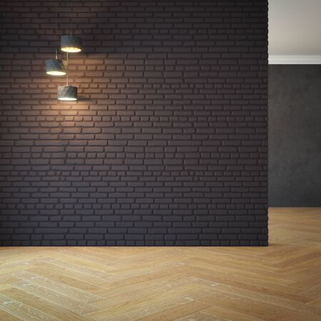 home office interior: empty room with light, 3d rendering