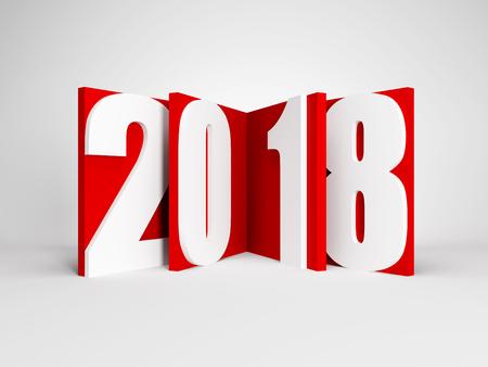 nieuwjaar 2018, 3d rendering Stockfoto