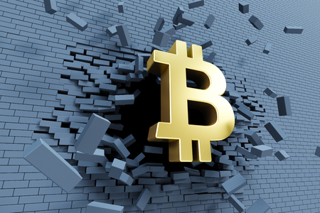 explosive growth of bitcoin, 3d concept Imagens