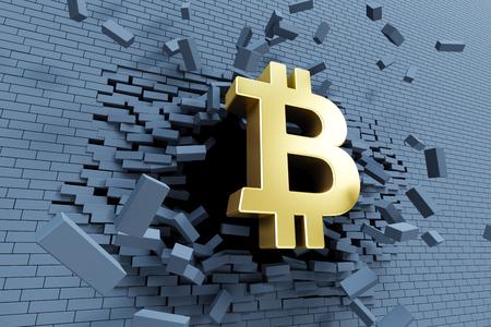 explosive growth of bitcoin, 3d concept Zdjęcie Seryjne
