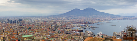 panorama of Napoli with a view for Vesuvius volcano