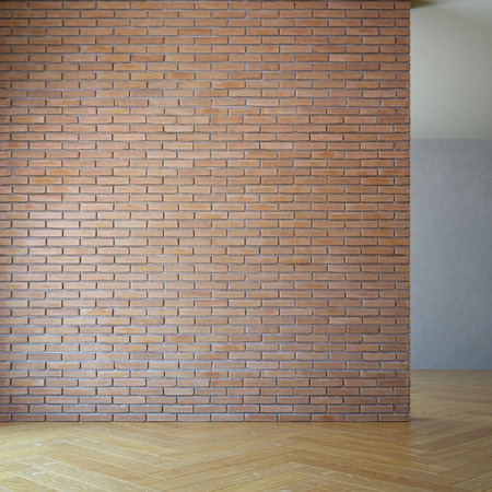 empty room with brick wall, 3d rendering