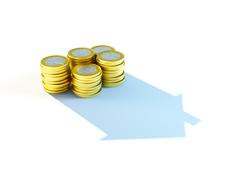 growing stack of coins for mortgage concept Stock Photo