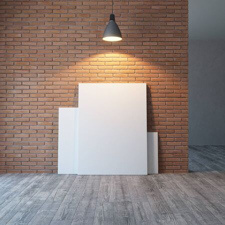 empty room with brick wall and lighting, 3d rendering Imagens