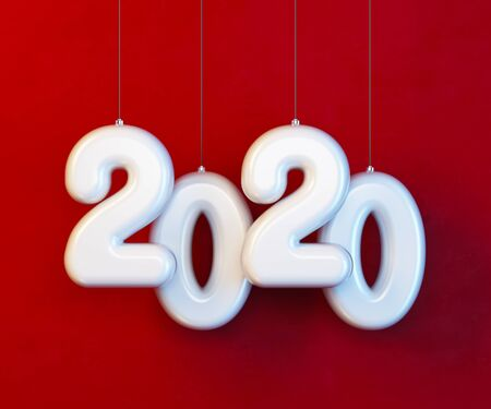 2020 Happy new year creative design background or greeting card. 3d rendering