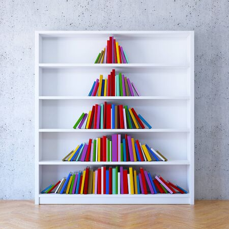 Christmas tree from books on the shelf, 3d rendering 版權商用圖片