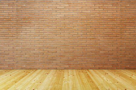 empty room with brick wall and wooden floor, 3d rendering Imagens