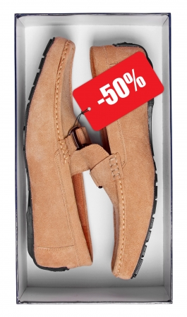 2 50: Pair of male brown mocassins with discount tag in box isolated on white