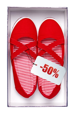 priced: Female red shoes with price tag in box, isolated on white