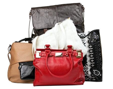 Diverse zakken over wit, met het knippen van weg Stockfoto