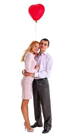 palloncino cuore: Giovane bella coppia con palloncino cuore