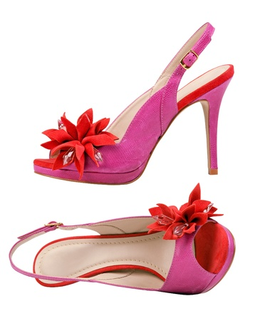 Pair of pink female open-toe shoes over white Stock Photo - 12376588