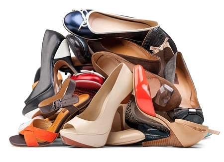 Pile of various female shoes, with clipping path photo