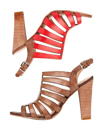 Two leather sandal shoes, with clipping path photo