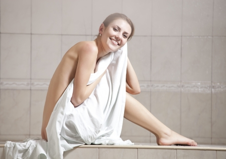 steam bath: Young woman enjoying hamam or turkish bath  Stock Photo