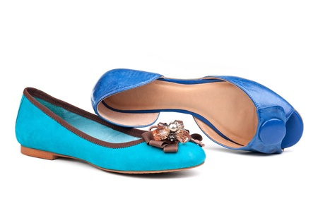 Two summer women shoes over white Stock Photo - 12376626