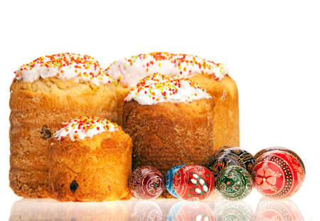 paskha: Easter cakes and painted eggs over white Stock Photo