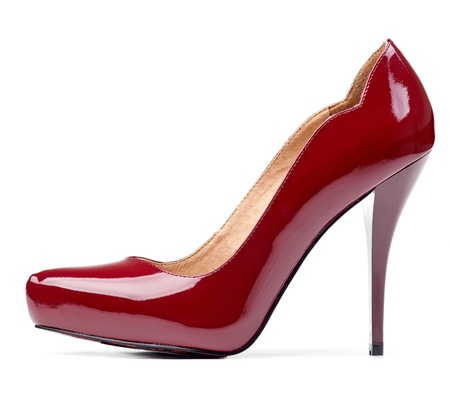 Luxury red female shoe isolated over white Stock Photo - 12798111