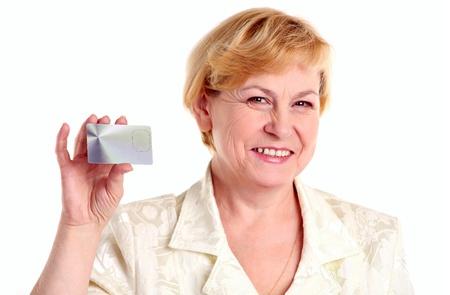 Succesvolle zakenvrouw met creditcard