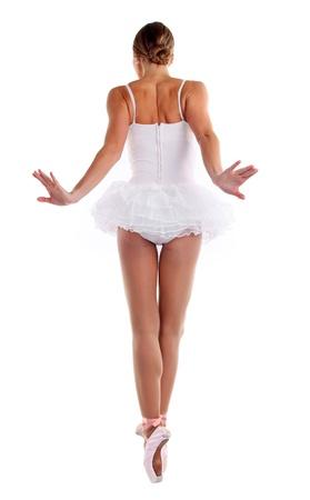 tutu ballet: Vista posterior de la bailarina de la danza de pointes