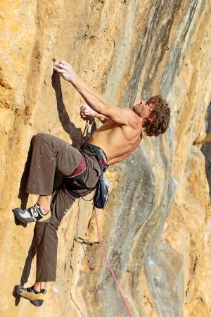 climbing sport: Rock climber