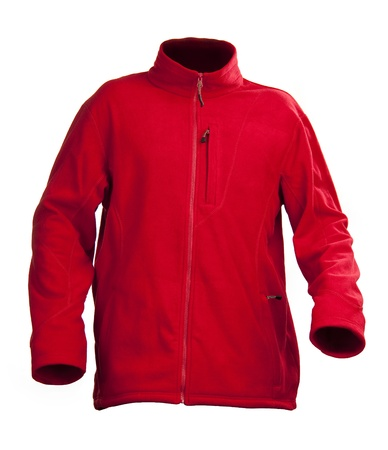 fleece: Red male fleece jacket isolated over white