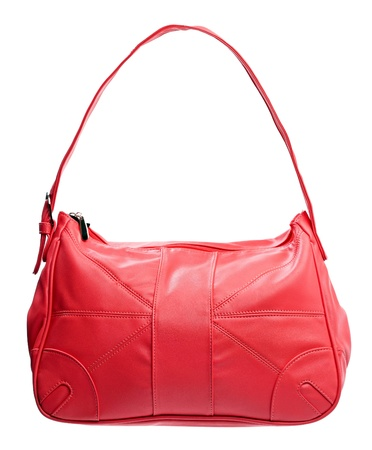 woman handle success: Red leather women bag isolated over white