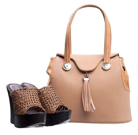 opentoe: Pair of women open-toe clogs and handbag
