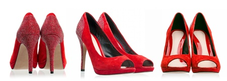 Red dress shoes over white photo